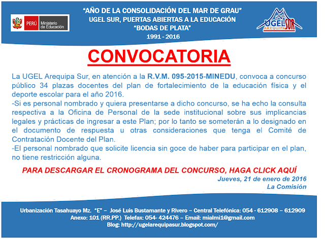 Convocatoria para 34 plazas docentes del plan de for Convocatoria concurso docente 2016