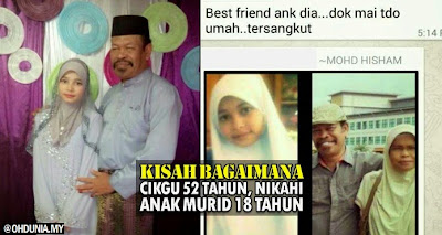Guru berusia 52 tahun nikahi anak murid 18 tahun