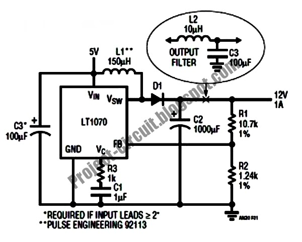 electronics technology  5vdc to 12vdc lt1070 boost