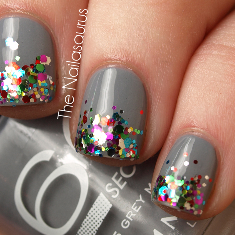 gray nail polish with rainbow glitter