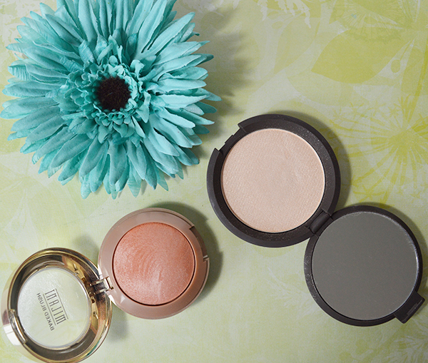 august favourites becca highlighter moonstone and milani baked blush in luminoso