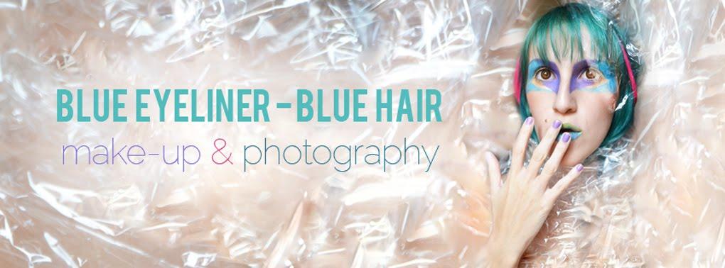 blue eyeliner, blue hair