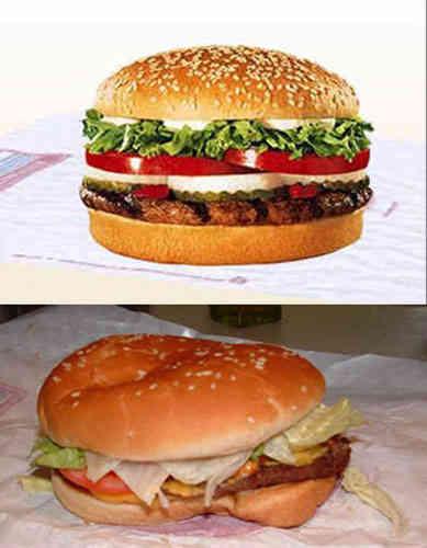 Resultado de imagen de hamburguesa foto y realidad