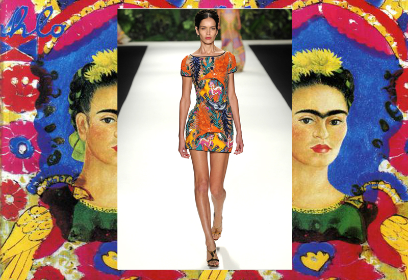 The vibrant and beautiful world of Frida Kahlo paintings, flamenco dancers, Mexican churches and the Moors is where the Spring/Summer 2014 Naeem Khan collection was born
