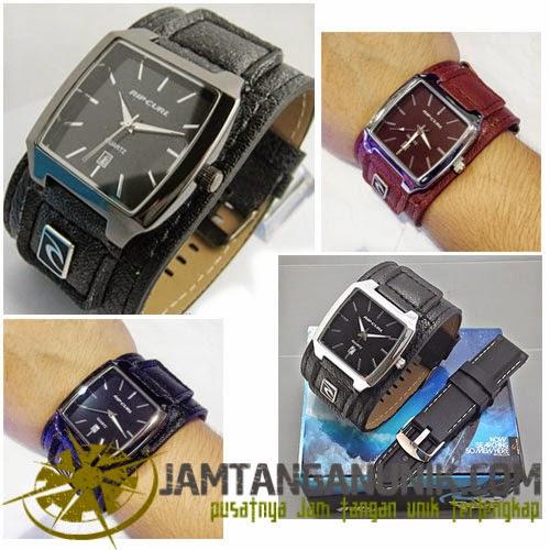 Ripcurl analog jam tangan jarum dengan strap kulit lembut nyaman dan gaul