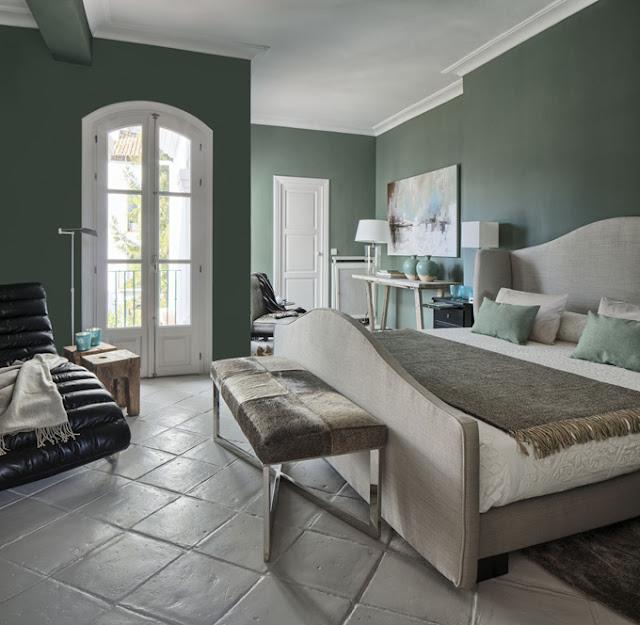 dormitorio pintado en verde