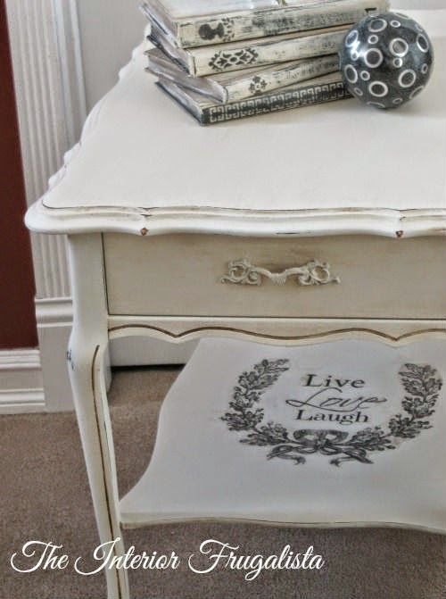 French Provincial Rectangular Side Table with graphic