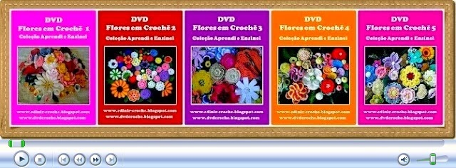 dvd flores em croche 5 volumes video-aulas loja curso de croche frete gratis aprender croche com edinir-croche
