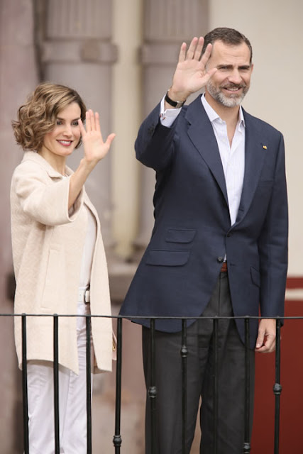 Queen Letizia of Spain and King Felipe of Spain, Mexican President Enrique Pena Nieto and his wife Angelica Rivera visit the colonial Museum of Guadalupe in Guadalupe