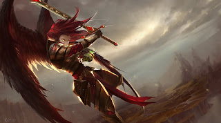 Kayle League of Legends Sword Armor Wings Red Hair Game HD Wallpaper Desktop PC Background 1860