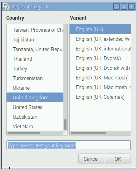 interface configuração raspbian
