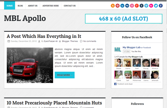 Top 7 Free Premium Blogger Templates of 2013 with Sticky Menubar