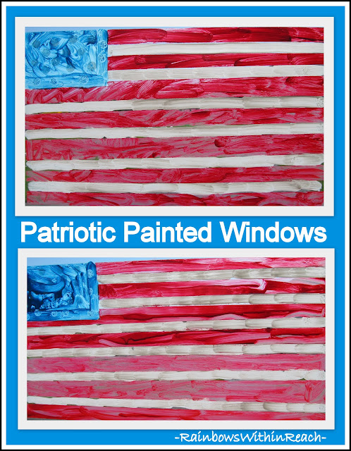 photo of: Finger Painted American Flags on Window