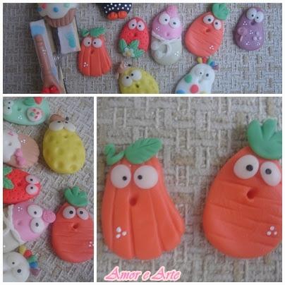 Mini dolls, ímã de geladeira (moranga e cenoura)