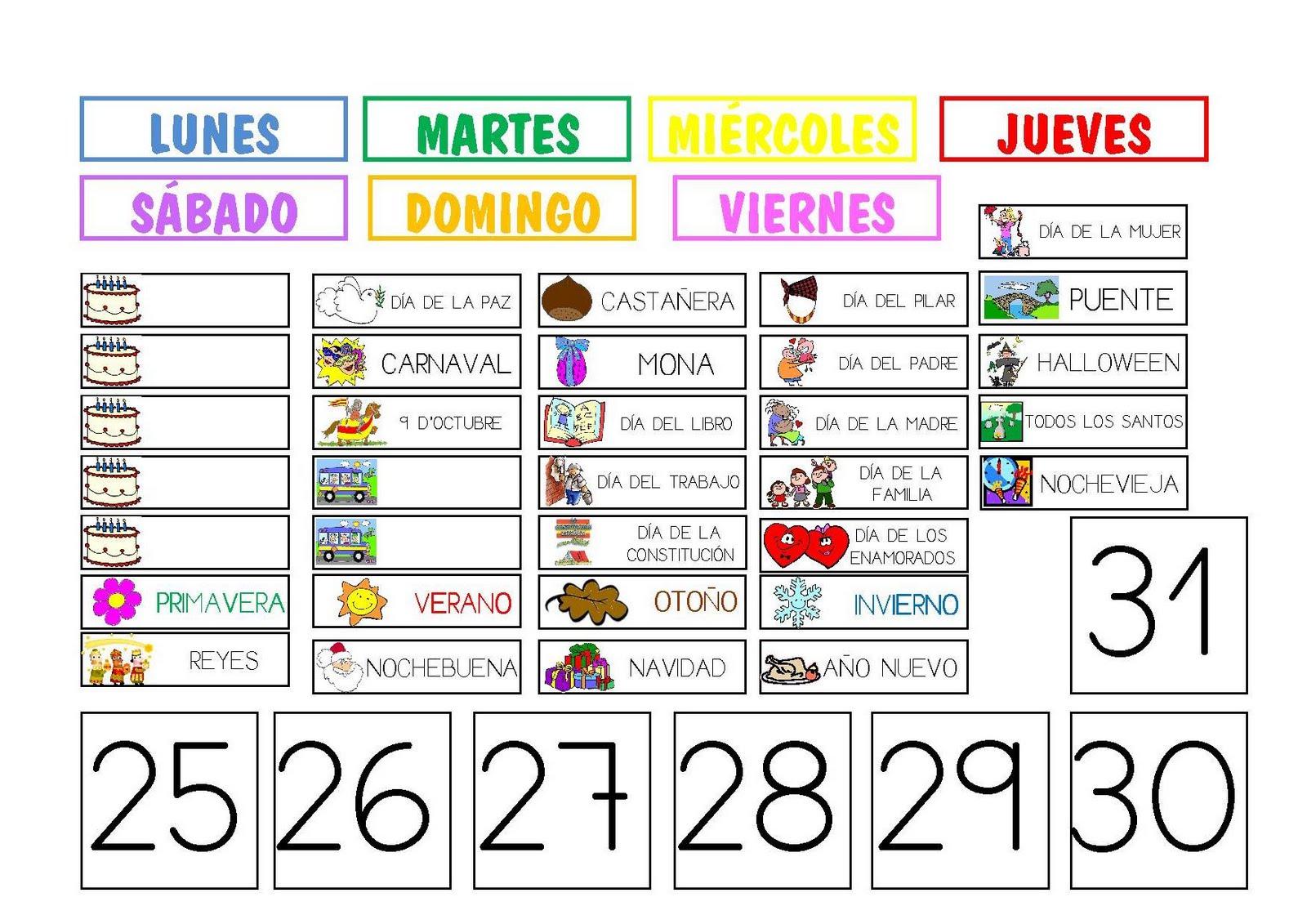 Calendario Para La Clase De Espanol