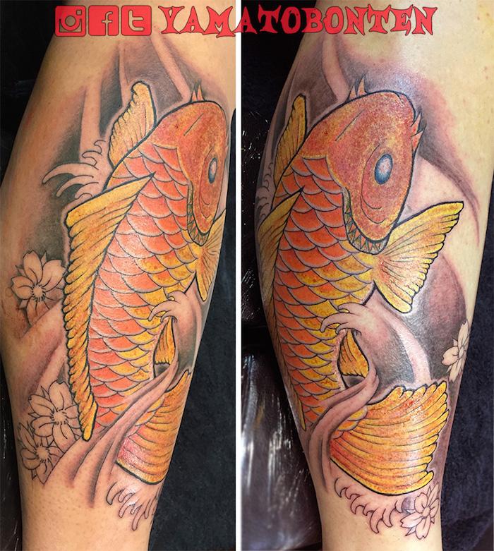 #Koifish, #koi, #tattoo, #tattoos, #inked, #irezumi, #japanesetattoo, #tokyotattoo, #yamatobonten, #shading, #sakura, #大和梵天