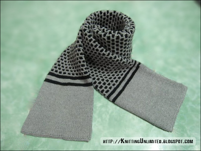 This is a warm winter scarf knitting with double thickness from the tube construction.