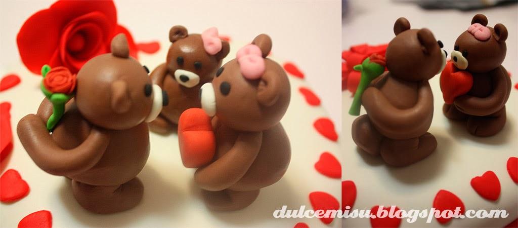 tarta, corazón, san valentin, fondant, dulcemisu, ositos, rosa
