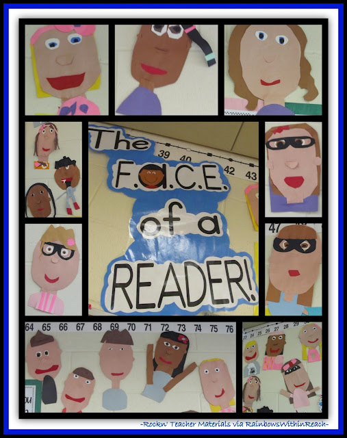 photo of: Bulletin Board F.A.C.E. of a Reader (Rockin' Teacher Materials via RainbowsWithinReach)