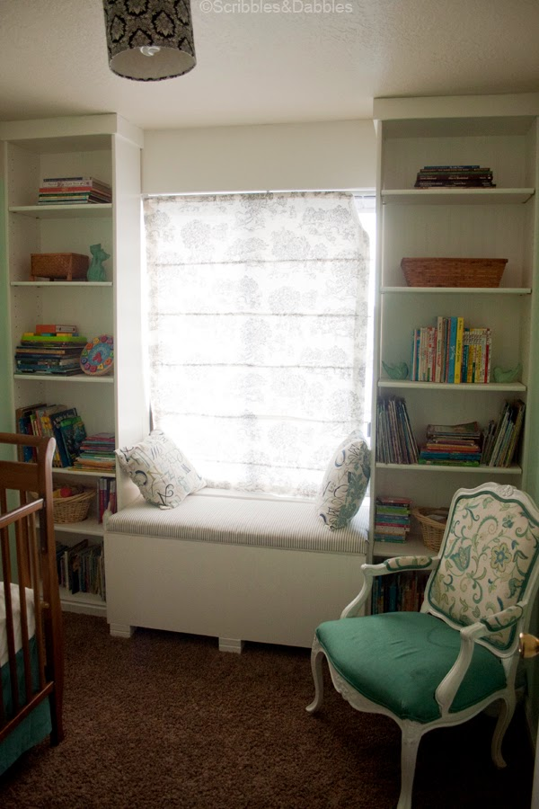 Scribbles&Dabbles: Nursery Makeover -- window bench seat
