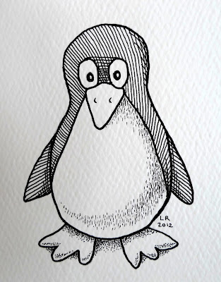 pen and ink penguin