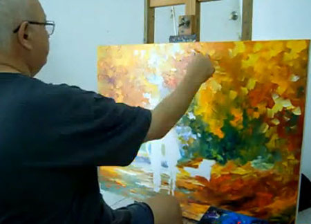 ... new piece by palette knife - Video Lessons of Drawing & Painting