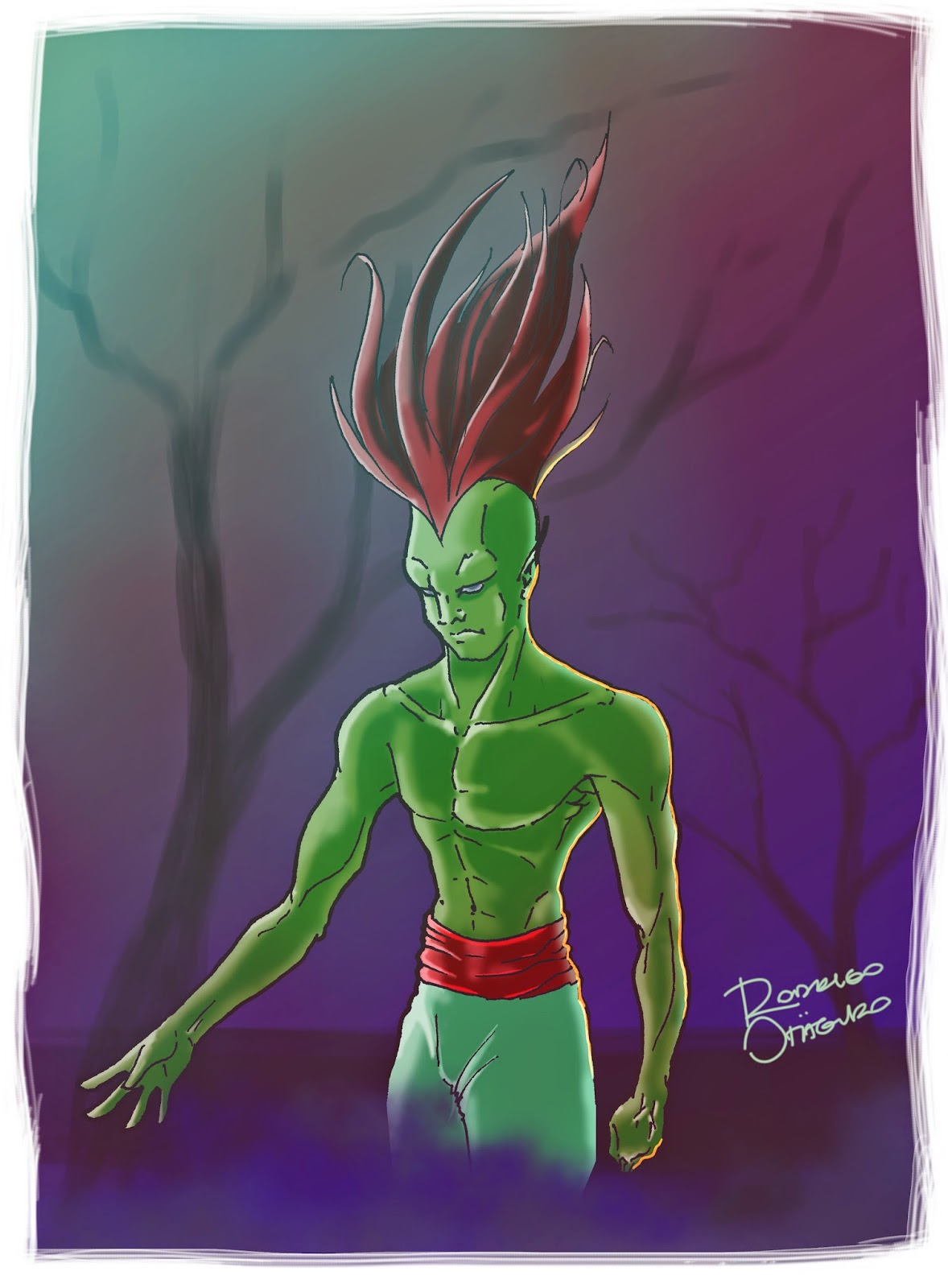 Desenho tradicional em cores, pintura digital/Traditional drawing on color, digital paint