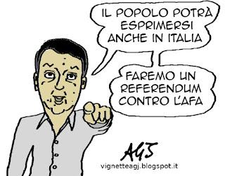 Renzi, referendum, satira, vignetta