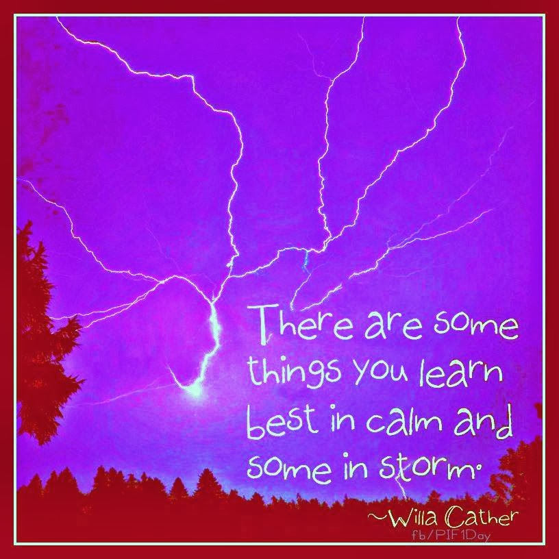 There are some things you learn best in calm and some in storm willa