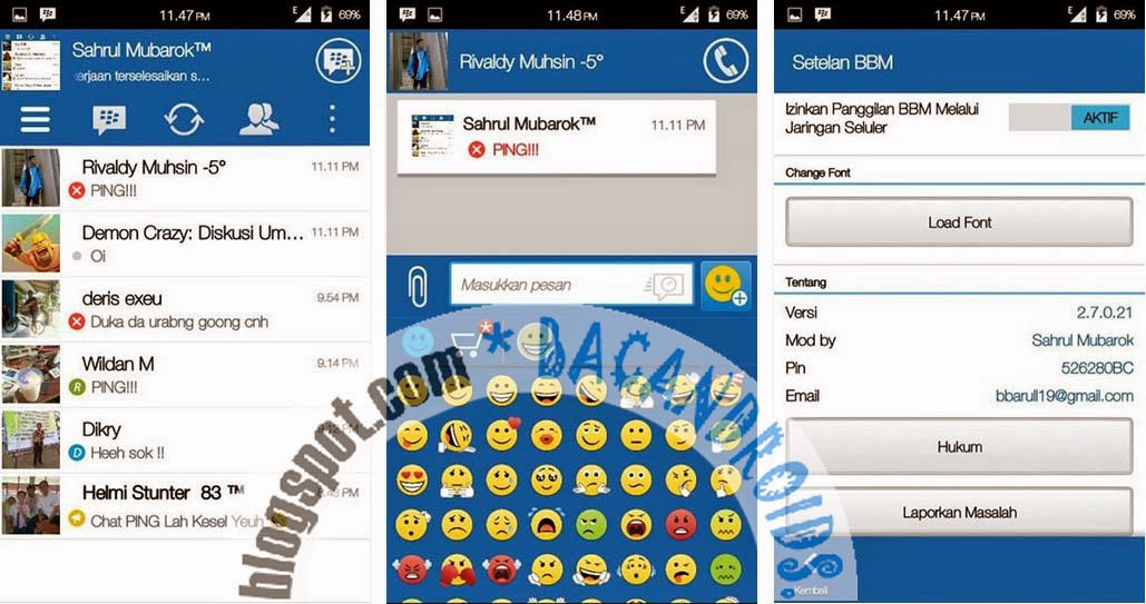 Download BBM Mod New Versi 2.7.0.21 Tema Simple Blue Apk terbaru