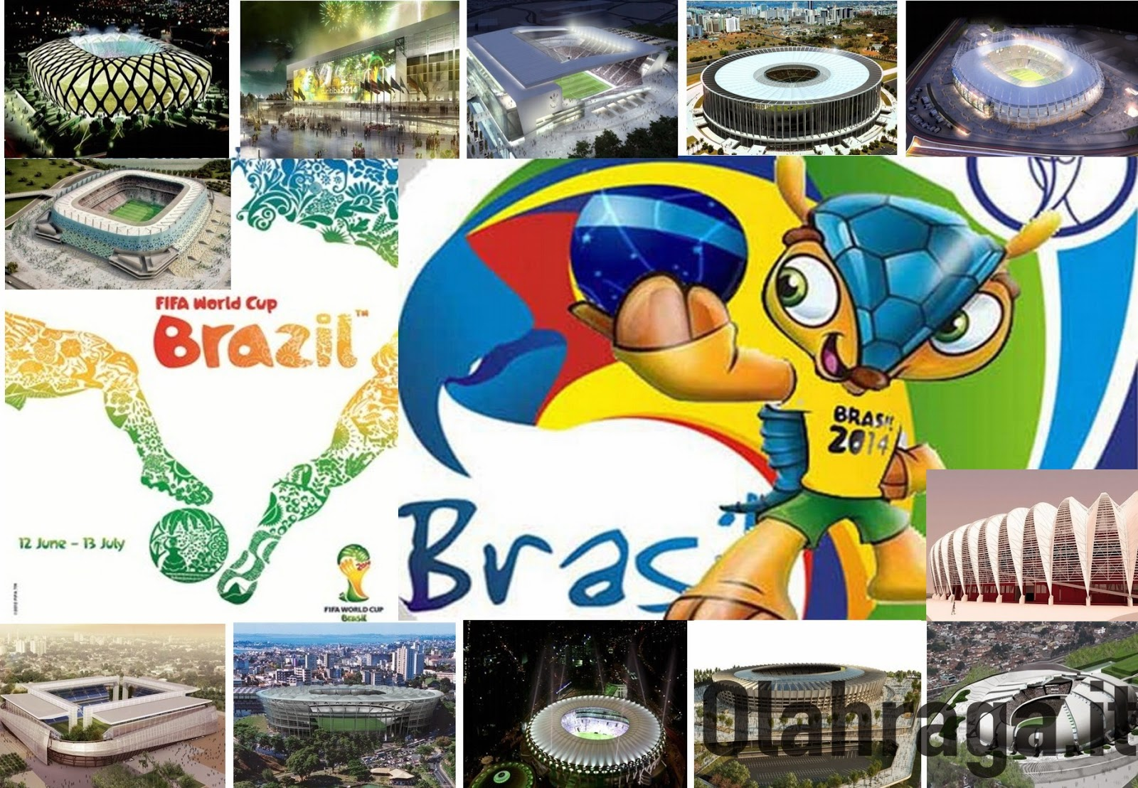 Olahraga.it - Piala Dunia 2014 yang akan diselenggarakan di Brasil nampaknya tak kalah meriah dari PD Afrika Selatan 2010, terutama sarana stadion yang akan menjadi panggung para bintang sepakbola dunia. Ini Stadion Piala Dunia 2014 Brasil yang sudah dipersiapkan jauh-jauh hari.
