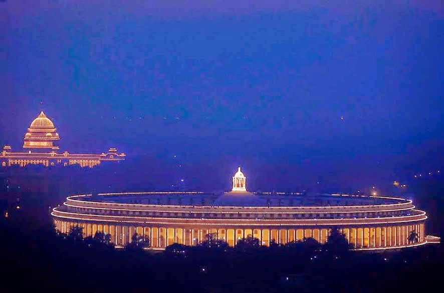 Evening View of parliament house and Rashtrapati Bhawan