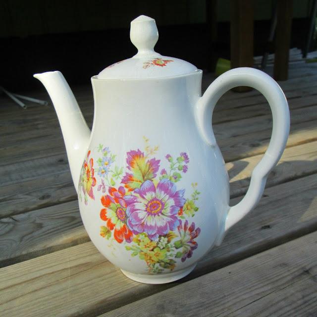 Arabia U-leima 1917 19527  OL kannu kaadin tea coffee pot kukka siirtokuva
