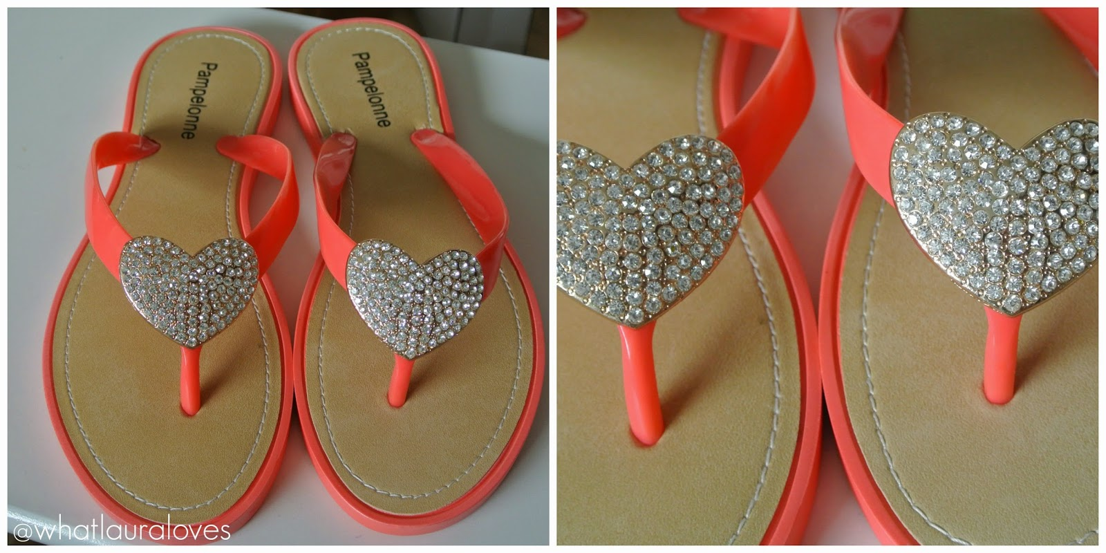Garage Shoes Coral and diamante gold flip flops