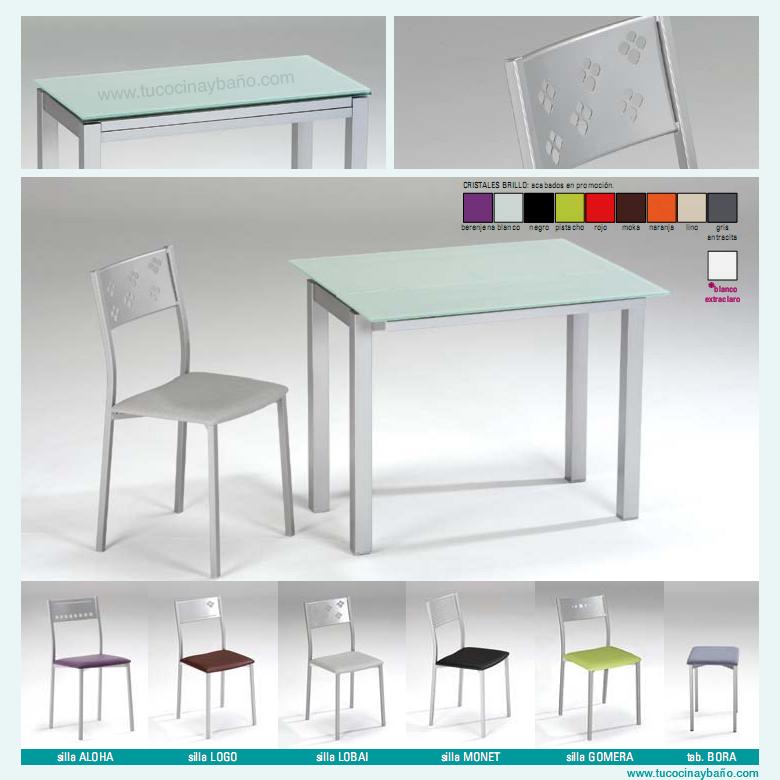 Precio mesa cocina cristal extensible moderna redonda tu - Taburetes plegables cocina ...