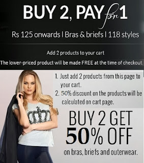 Women's Innerwear: Buy 2 Pay for 1  and Buy 2 Get Flat 50% Off at Zivame