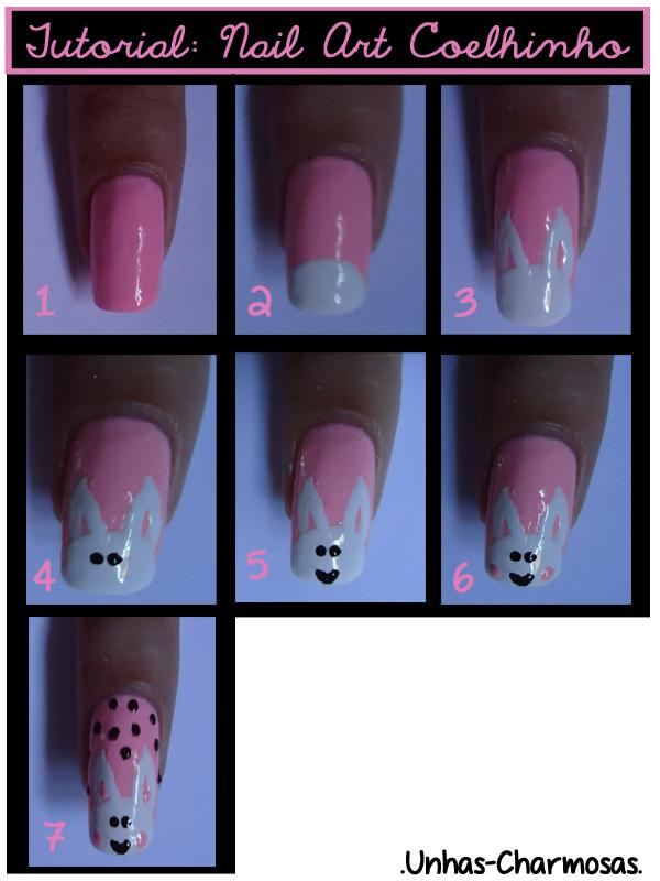 Tutorial nail art de coelhinho da páscoa, tutorial de nail art de páscoa, tutorial unha de coelhinho