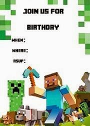 żółty Balonik Minecraft Zaproszenia