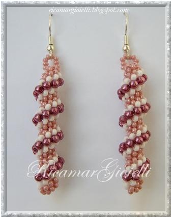 orecchini spirale Cellini in rosa, bianco ed ametista