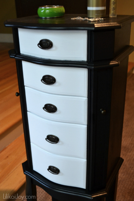 Craigslist Jewelry Armoire Makeover: Classic B&W