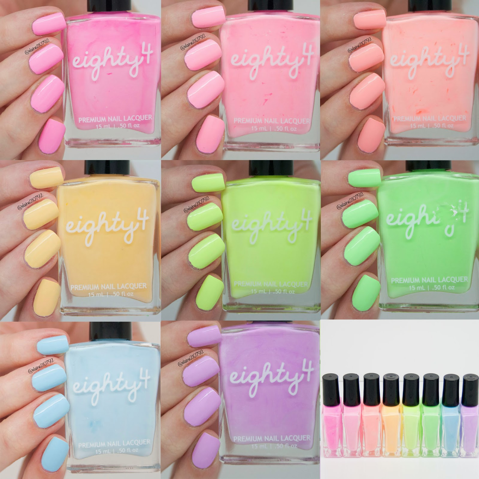 Elaine Nails: Shop Eighty4 Pastel Neon Collection Swatch and Review