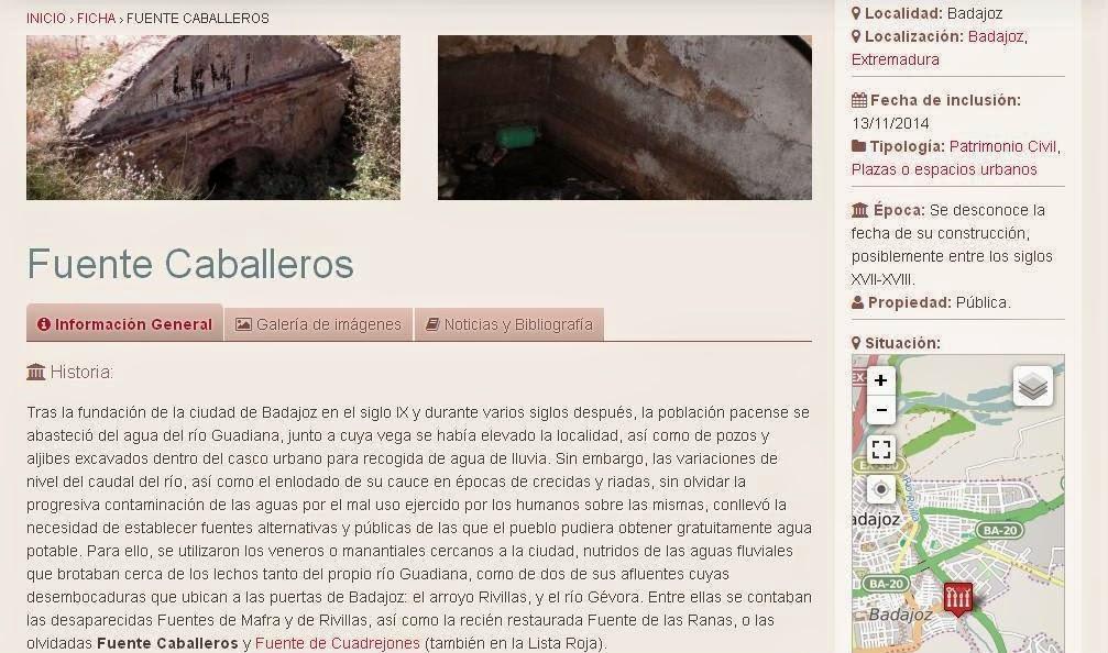 Lista Roja del Patrimonio: Fuente Caballeros (Badajoz)