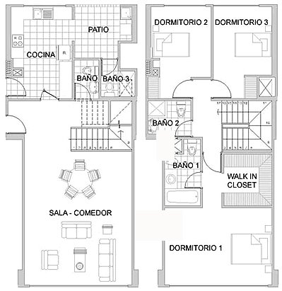Plans of a duplex apartment of 148m2