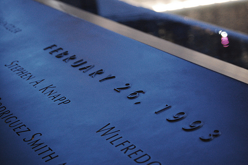 "World Trade Center Memorial dedicated to the five individuals killed by a bomb in a ""terrorist operation"" the  FBI helped to formulate. (Photo by Rebecca Wilson)"