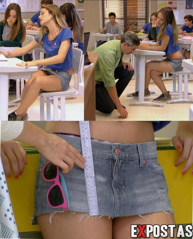 Juliana Paiva ('Fatinha') e sua mini-saia instigante em cenas da 'Nova Malhação' - Agosto de 2012
