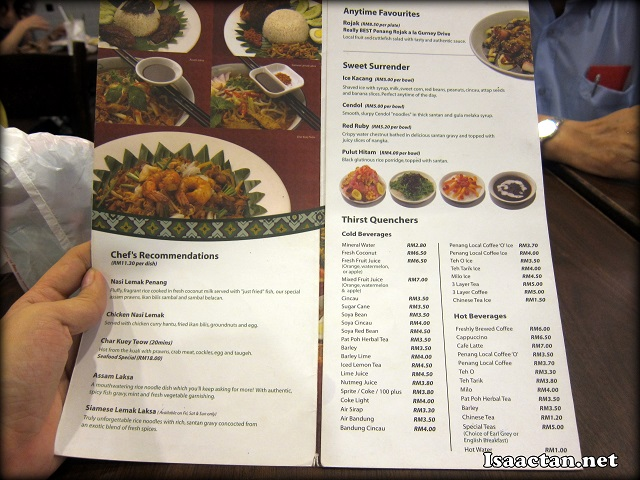 Little Penang Kafe Midvalley Megamall Menu