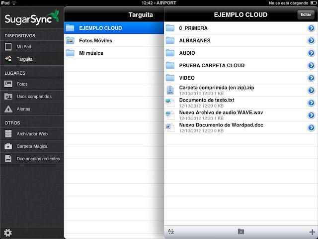 Presentacion de archivos en iPad sincronizados con Sugarsync