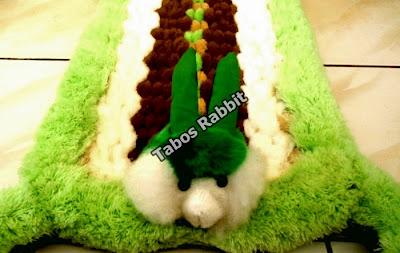 keset cantik boneka kelinci warna hijau