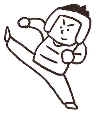 テコンドー選手のイラスト「キック!」 モノクロ線画