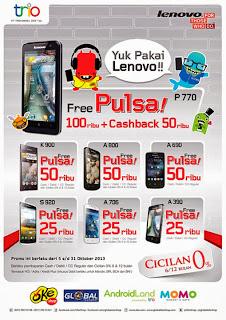 Yuk Pakai Lenovo Promo Free Pulsa + Cashback